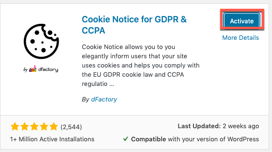 Activate Cookie Notice Plugin
