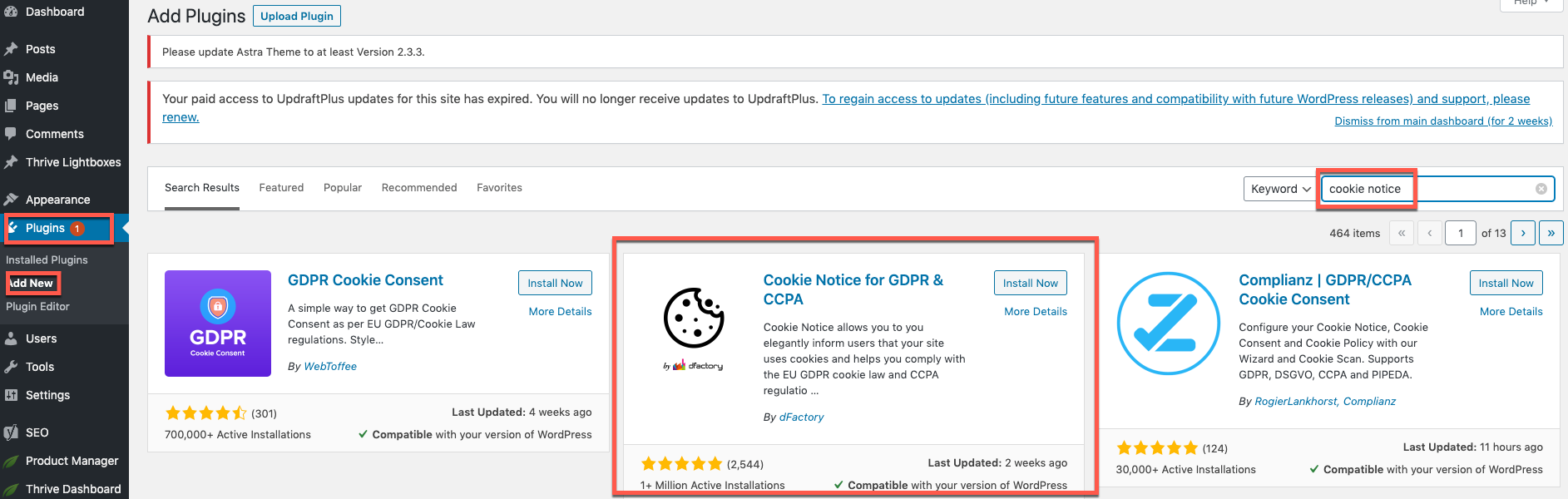 Install Cookie Notice Plugin